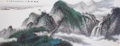 【已售】中国美术家协会山水名家张哲礼六尺横福山水《清江帆影》