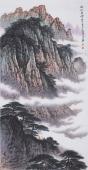 美术家协会山水名家张哲礼四尺竖幅山水《晚山看云》