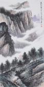 美术家协会山水名家张哲礼四尺竖幅山水《高山浮云》
