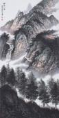 美术家协会山水名家张哲礼四尺竖幅山水《幽谷人家》