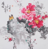 国家一级美术师王凌风四尺斗方牡丹《国风》