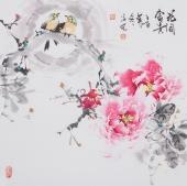 国家一级美术师王凌风四尺斗方牡丹《花开富贵》
