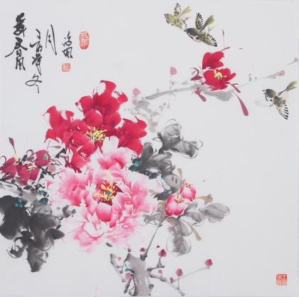 国家一级美术师王凌风四尺斗方牡丹《舞春风》