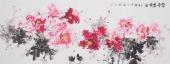 国家一级美术师王凌风小六尺横幅牡丹《富贵吉祥图》