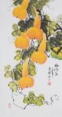广西美协花鸟名家黄艺三尺竖幅《福禄图》