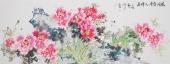 一级美术师王凌风小六尺横幅牡丹《花开富贵人增寿》