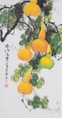 广西美协花鸟名家黄艺三尺竖幅葫芦《福禄满堂》