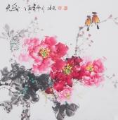 国家一级美术师王凌风四尺斗方牡丹《天香》