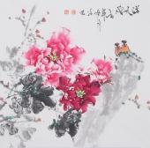 国家一级美术师王凌风四尺斗方牡丹《溢天香》
