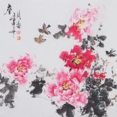 国家一级美术师王凌风四尺斗方牡丹《春》