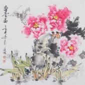 国家一级美术师王凌风斗方牡丹《富贵图》
