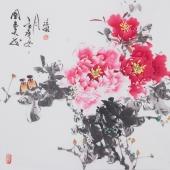 国家一级美术师王凌风四尺斗方牡丹《国色天香》