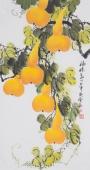 广西美协花鸟名家黄艺三尺竖幅葫芦《福禄图》