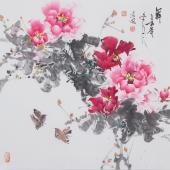 国家一级美术师王凌风四尺斗方牡丹《舞》
