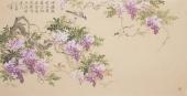 河北美协花鸟名家皇甫小喜四尺横幅紫藤花鸟