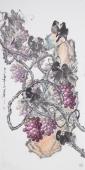 一级美术师黄荣华四尺竖幅水墨葡萄