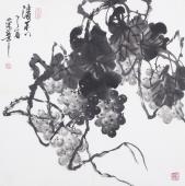一级美术师黄荣华四尺斗方水墨葡萄《清香》