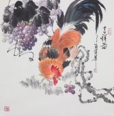 【已售】国家一级美术师黄荣华四尺斗方雄鸡图《吉祥图》