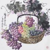 【已售】国家一级美术师黄荣华四尺斗方水墨葡萄《硕果丰收》