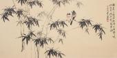 河北美协花鸟名家皇甫小喜四尺横幅水墨竹花鸟