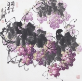 一级美术师黄荣华四尺斗方水墨葡萄《硕果清香》