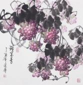 一级美术师黄荣华四尺斗方水墨葡萄《硕果香》