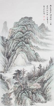 一级美术师山水名家张福民四尺竖幅山水
