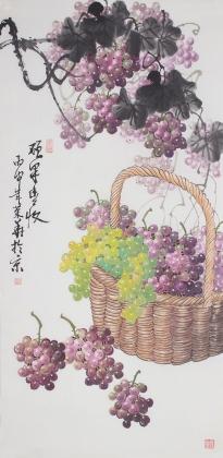 国家一级美术师黄荣华四尺竖幅水墨葡萄《硕果丰收》