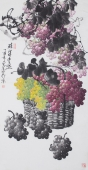 一级美术师黄荣华四尺竖幅水墨葡萄《硕果丰盈》