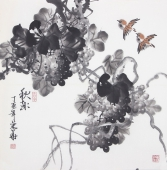 一级美术师黄荣华四尺斗方水墨葡萄《秋趣》