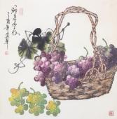 一级美术师黄荣华四尺斗方水墨葡萄《硕果丰收》