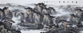 【已售】山水名家牛鸿亮八尺横幅山水《富水山居图》