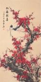 广西美协周翁弟四尺竖幅梅花《红梅报喜》