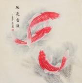 河南美协刘志高四尺斗方工笔《鸿运当头》