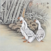 花鸟名家张琳工笔斗方《和谐》