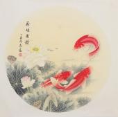 河南美协刘志高四尺斗方工笔《荷塘有余》
