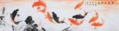 国家一级美术师花鸟名家董宗周六尺横幅九鱼图《鱼戏水知春》