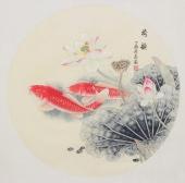 河南美协刘志高四尺斗方工笔双鱼图《荷韵》