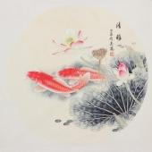 河南美协刘志高四尺斗方工笔双鱼图《清雅》