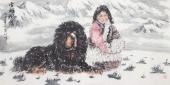 河南美协王贵邱四尺横幅精品藏獒《雪域风情》