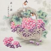 【已售】河南美协刘志高四尺斗方工笔葡萄《秋之韵》