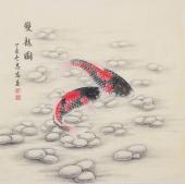河南美协刘志高四尺斗方工笔《双龙图》