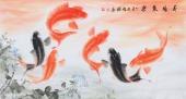 【已售】国家一级美术师花鸟名家董宗周三尺横幅九鱼图《荷塘鱼乐》