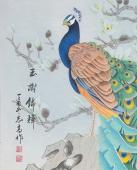 河南美协刘志高四尺竖幅工笔孔雀《玉树锦辉》