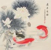 河南美协刘志高四尺斗方工笔《连年有余》