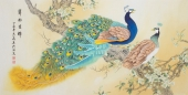 【已售】河南美协刘志高四尺横幅工笔孔雀《羿羽生辉》