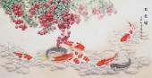 【已售】河南美协刘志高四尺竖幅工笔荔枝《玖余图》