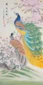 【已售】河南美协刘志高四尺竖幅工笔孔雀《锦绣春晖》
