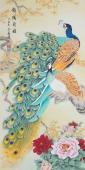 【已售】河南美协刘志高四尺竖幅孔雀工笔《锦绣前程》