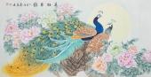 【已售】河南美协刘志高四尺横幅工笔孔雀《花好月圆》